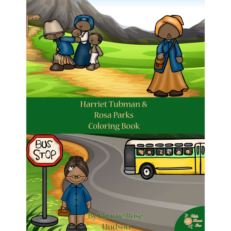 Harriet Tubman and Rosa Parks Coloring Book-Level A or B
